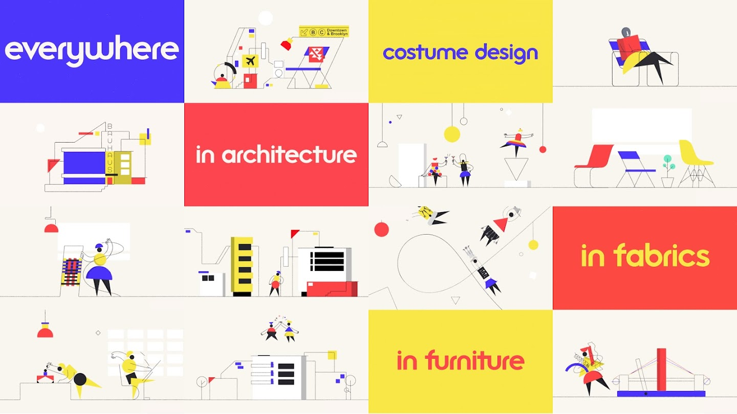 Grid of illustrations showing that Bauhaus is in architecture, fabrics, furniture design and more