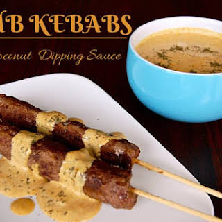 Lamb Kebabs With Coconut Curry Dipping Sauce.