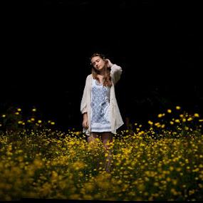 DarkField by Alex Newstead - People Portraits of Women ( field, girl, grass, forest, flowers, pretty, portrait, buttercup )