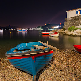 Life in Kokkari village by Grigoris Koulouriotis - Transportation Boats ( village, greece, sea, summer, night, travel, island,  )