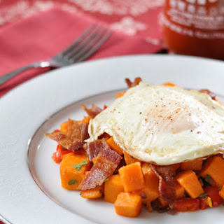 Sriracha Sweet Potato and Bacon Hash