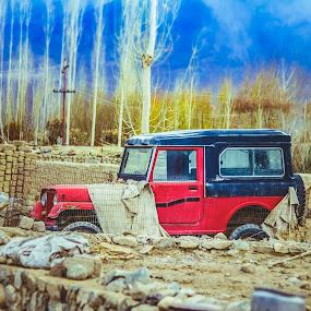 JEEP | LADAKH by Inderjit Singh - Landscapes Mountains & Hills ( leh, inderanim, ladakh, landscapes, hues )
