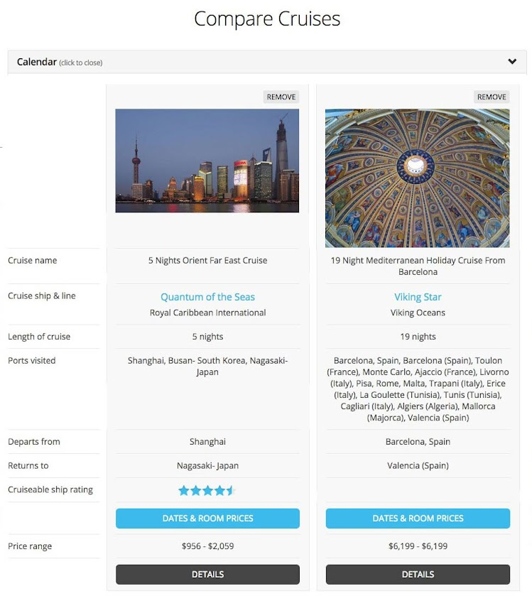 Cruiseable's new free Cruise Compare tool is available to compare cruises side by side.