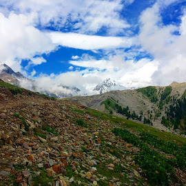 Mountain by Zubair Chana - Nature Up Close Other Natural Objects ( blue sky, mountain, mountains, green, snow, skyline, clouds )