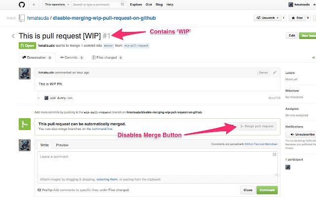 Disable to merge WIP PR on GitHub