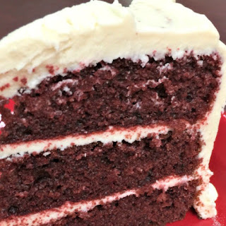 Red Velvet Cake with White Chocolate Cream Cheese Icing.