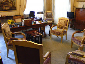 Photo: Here, the office of the President of the Senate, furnished in First Empire pieces, including the desk with feet shaped as winged lions; also, gilt armchairs covered with Beauvais tapestries from the late 18th century, based on drawing by Jean-Baptiste Oudry with the theme Fables of La Fontaine.