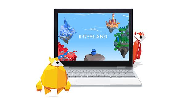Il gioco educativo Interland mostrato sullo schermo di un laptop