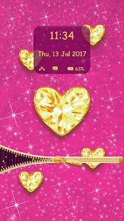 Zlaté Diamanty Zip Zamek Obrazovky - náhled