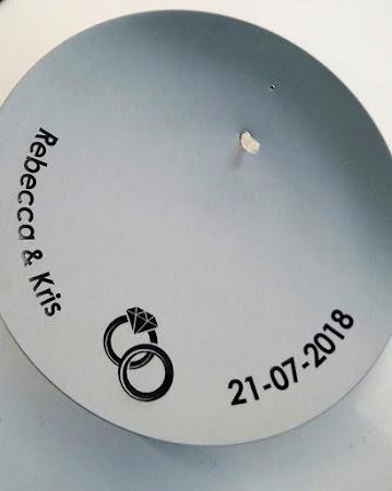 Huwelijk - olielamp schaal met gravure