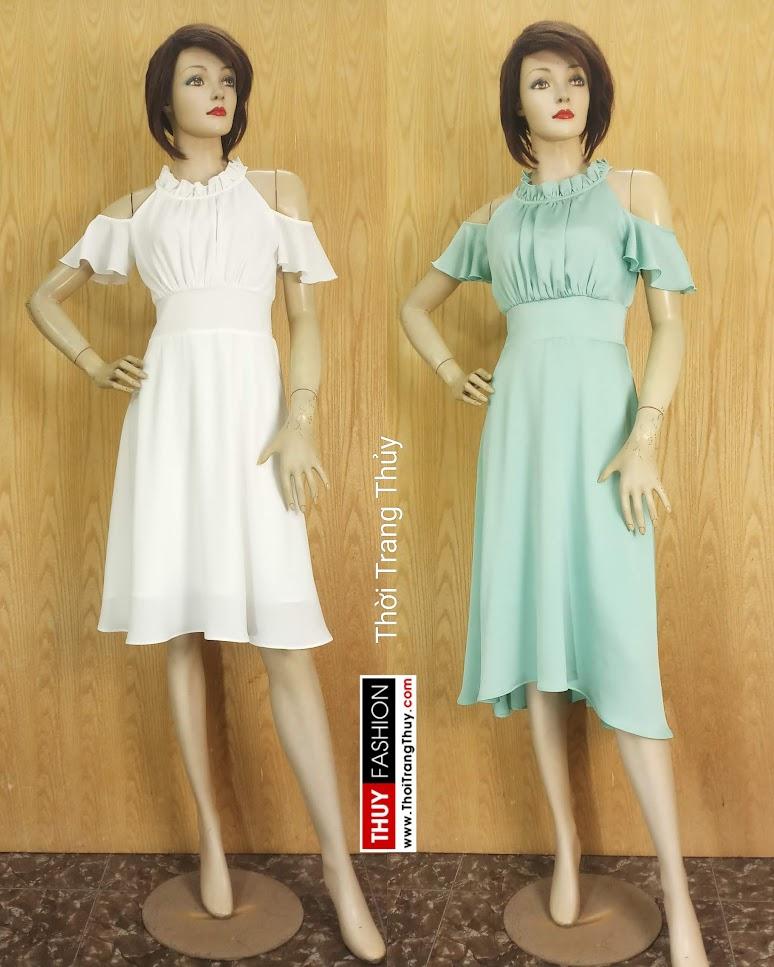 Váy xòe dáng dài trễ vai mặc đi dự tiệc đi biển V674 thời trang thủy