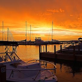 Harbor Sunset by Bill Diller - Transportation Boats ( michigan, harbors, docks, great lakes, vacation, sunsets, lake huron, boats, colors )