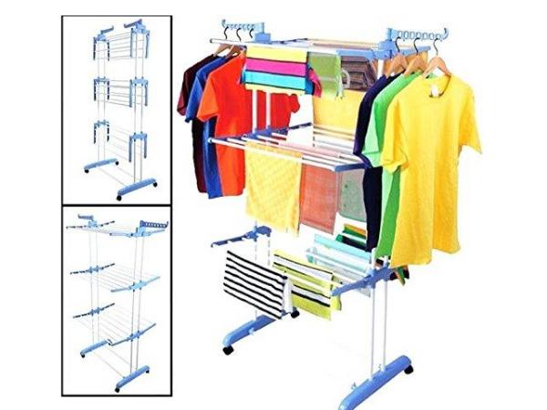 Kumaka Heavy Duty Space Saving/ Movable/ Mild Steel Double Pole Cloth Drying Stand