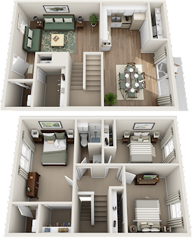 Go to Three Bed, Two Bath Townhome Floorplan page.