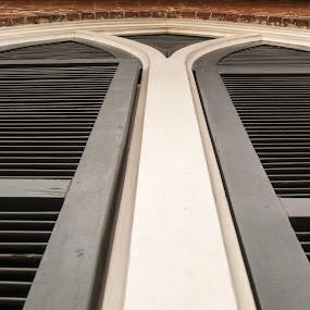 Church Shutters; architecture details by Gwyn Goodrow - Buildings & Architecture Architectural Detail ( building, church, brick, architectural detail, shutters, black, historic,  )