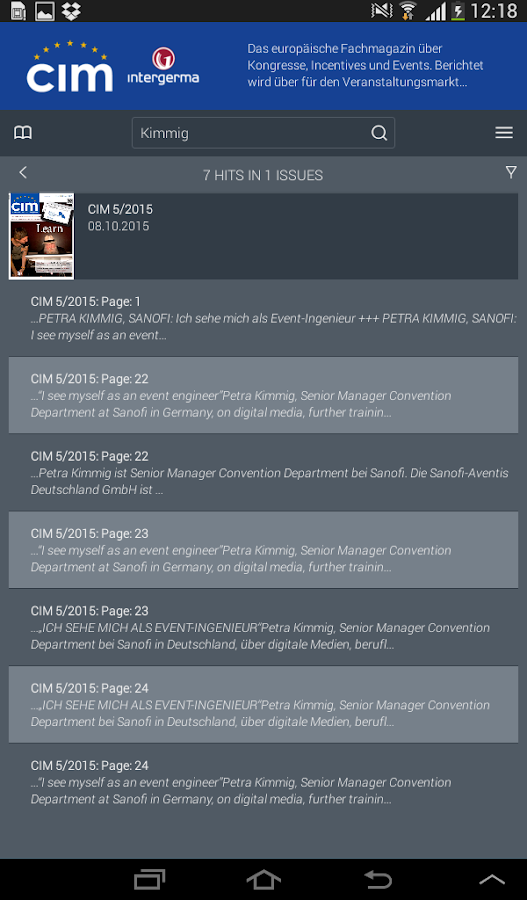 CIM Kiosk- screenshot