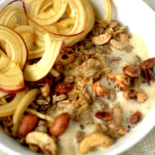 Chai Spiced Oatmeal Bowl with Apple Noodles and Frothed Milk