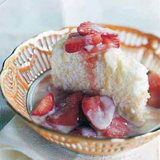 Almond Angel Food Cake with Crème Anglaise and Macerated Strawberries.