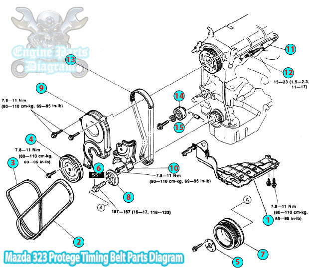 1992 mazda 323 protege timing belt parts diagram b6 engine. Black Bedroom Furniture Sets. Home Design Ideas