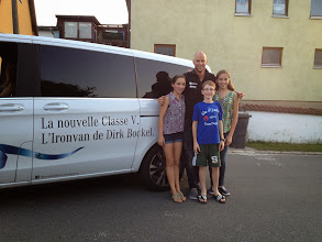 Photo: The kids with good friend,Olympian, and multi-Ironman Champion Dirk Bockel and L'Ironvan de Dirk Bockel....a very cool Mercedes V series