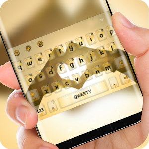 Love Keyboard Gold Sky Theme Hand Heart