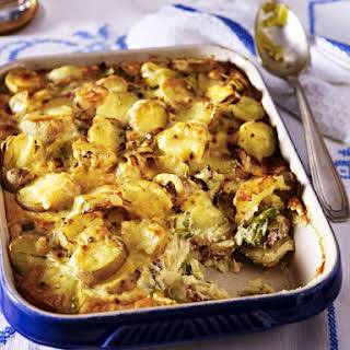 Potato Gratin with Leeks and Bacon.