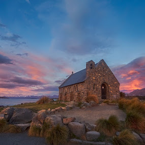 Rosy clouds just before sunset by Stanley Loong - Landscapes Sunsets & Sunrises ( clouds, sky, blue sky, red, church, sunset, dramatic, tekapo, lake, new zealand )