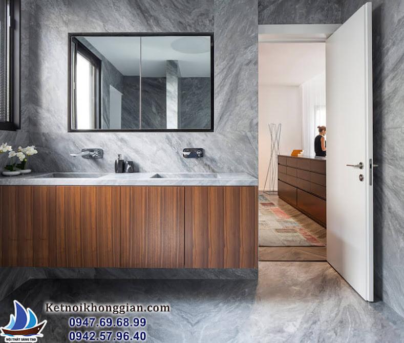 thiết kế căn hộ với phòng tắm lát đá