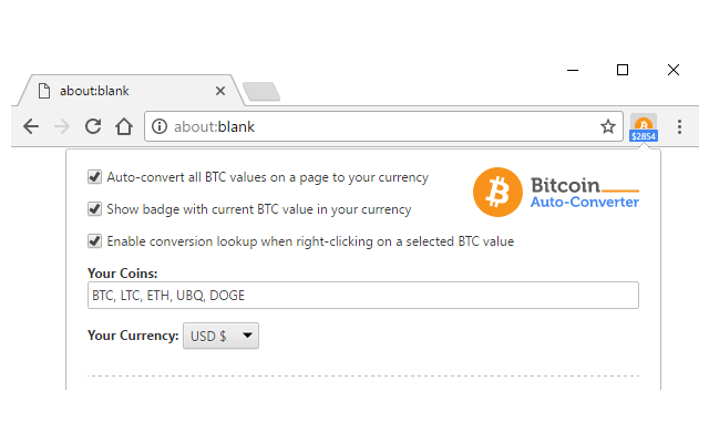 Finds the BTC values on any website and displays the live conversion to  your currency.