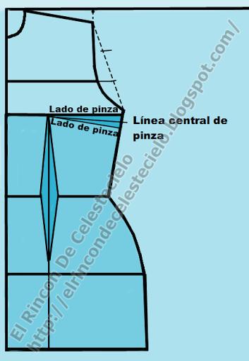 Trazando pinza de costado o lateral de busto en patrón delantero de blusa o vestido