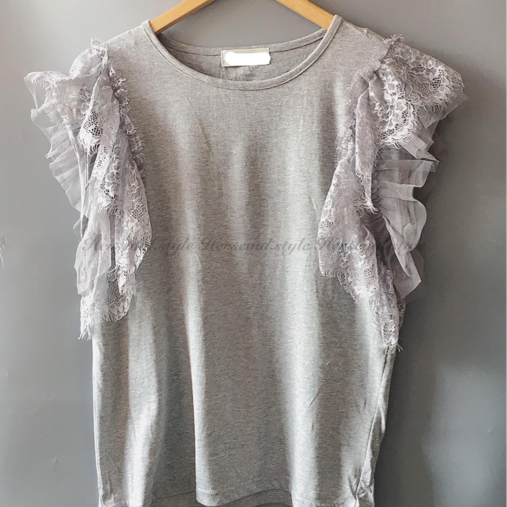 ⚙️灰色lace拼紗袖top⚙️