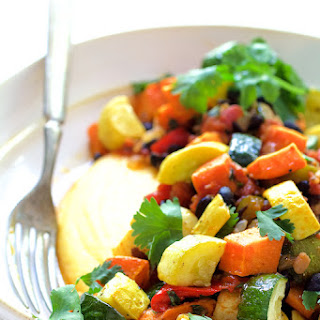 Spicy Roasted Vegetable Ragout with Black Beans and Polenta