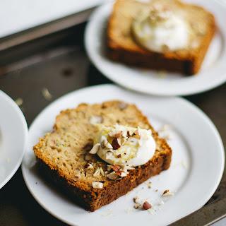 Courgette Bread (w/ Crème Fraîche, Lemon Zest and Crushed Hazelnuts)