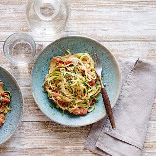 Zucchini Noodles with Tomato and Basil Cream Sauce Recipe