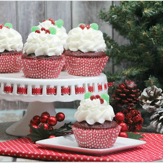 Holly Red Velvet Cupcake with Peppermint Frosting