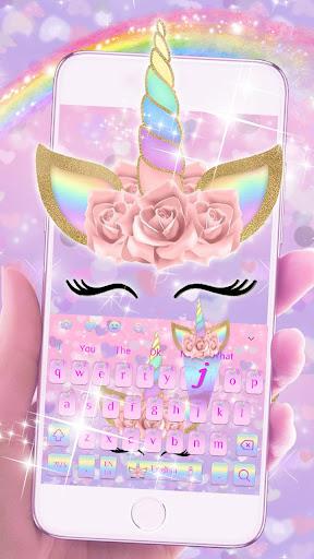 Pink Flower Unicorn Keyboard Theme 10001003 screenshots 3