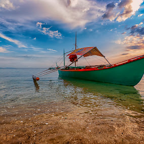 Wooden Boat by Ricky Pagador - Transportation Boats ( clouds, wooden boats, sunset, boats, sea, boat, wooden boat, beautiful nature )