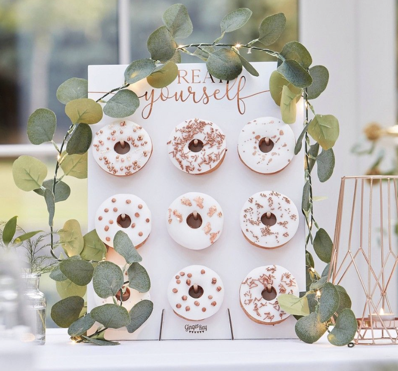 donut wall at a wedding