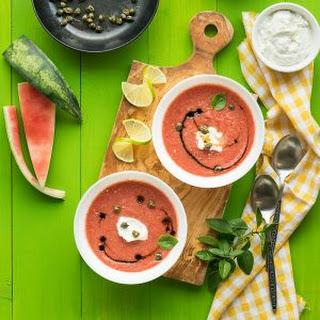 Watermelon Gazpacho with Feta Cream Recipe
