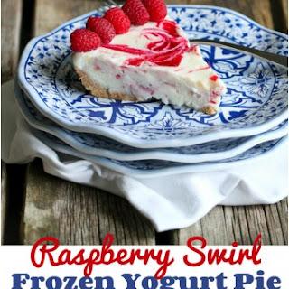 Raspberry Swirl Frozen Yogurt Pie.