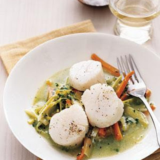 Poached Scallops With Leeks and Carrots.
