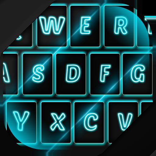 Neon Blue Keyboard Theme