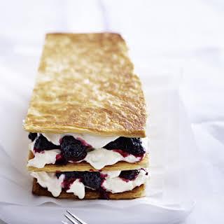 Puff Pastry with Mascarpone Vanilla Cream and Blackberries.