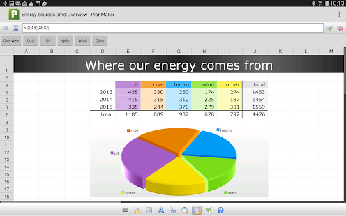 Office: PlanMaker Mobile- screenshot thumbnail