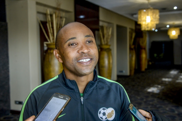 Coach Thabo Senong of the SA U/20 talking to the media during the South African U/20 Mens National Team Media Open Day at Premier Hotel, Kempton Park on July 18, 2018 in Johannesburg, South Africa.
