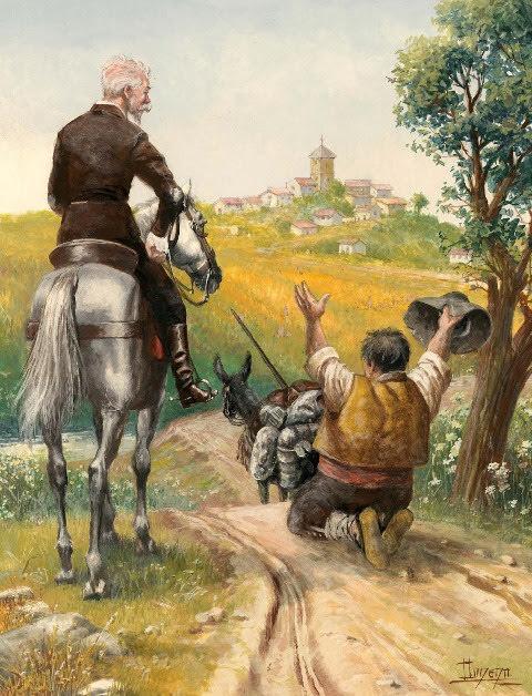Don Quijote y Sancho vuelven a su aldea.- ¡Abre los brazos, deseada patria!