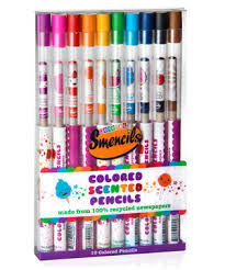 Pack of 10 Smencils. Scents: Lite- Blue, Cotton Candy, Violet Grape Soda, Black Cherry, Pink Bubble Gum, Yellow Lemon, Lime Fizz, Orange Loli-pop, Brown Rootbeer, Green Watermeon, Red Strawberry Cupcake, Navy Jelly Donut.