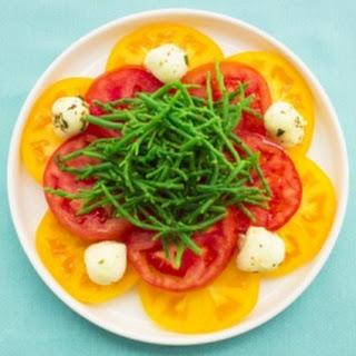 Hawaiian Style Caprese Salad w/Sea Asparagus.
