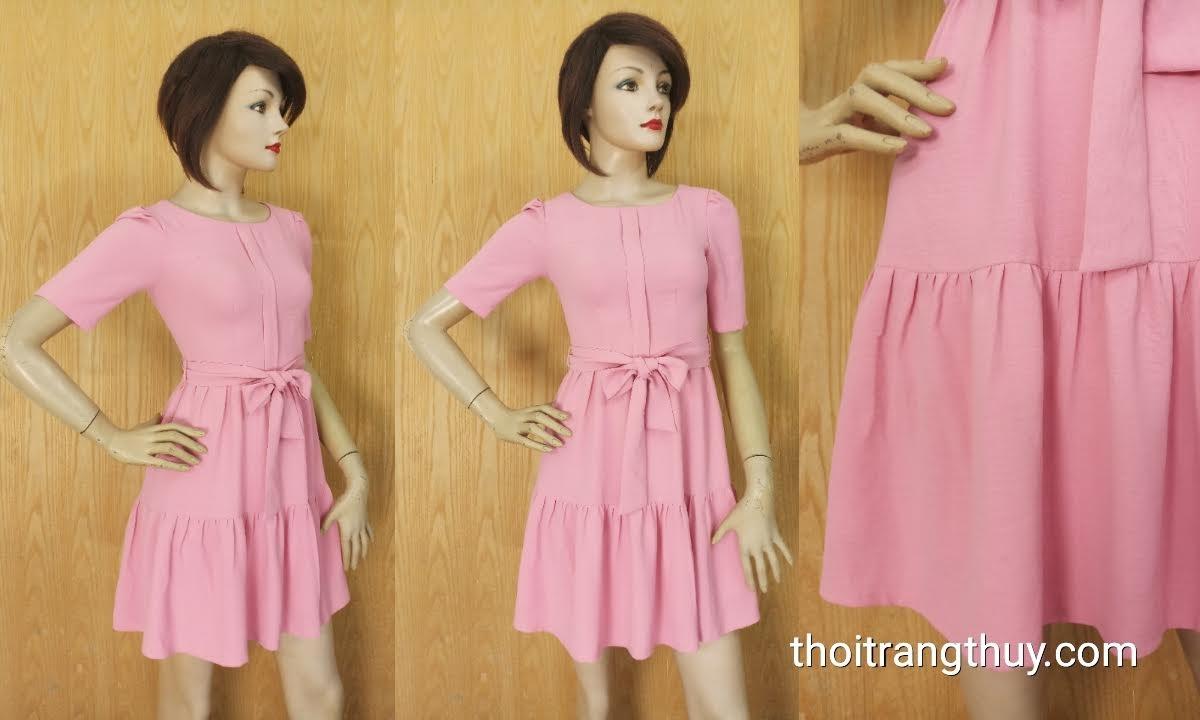Váy xòe công sở thắt nơ đai eo hồng thạch anh V625 Thời Trang Thủy