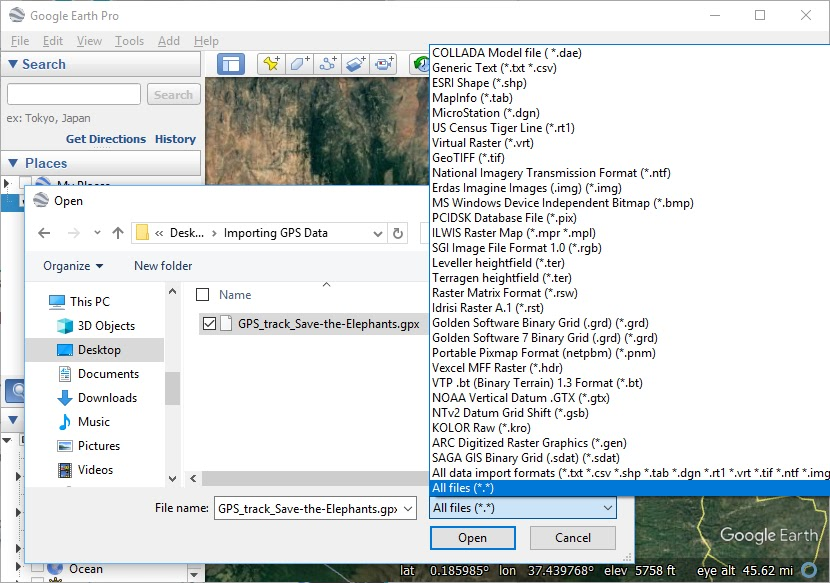Select the filetype for GPS files